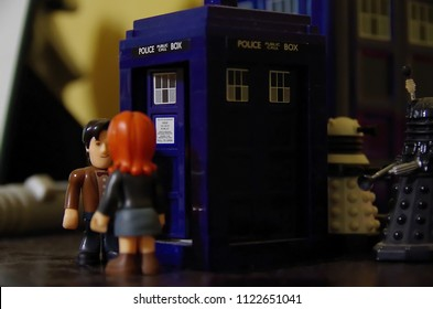 HOBART, TASMANIA - JUNE 23 2018: Doctor Who figures posed as if performing a dramatic scene