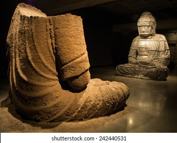 Hobart, Tasmania - September 15, 2014: Huge sculptures of Buddha image was exhibited inside Museum of Old and New Art (MONA). It is the largest privately funded museum in Australia