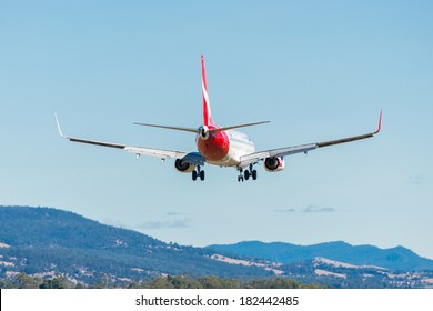 HOBART, TASMANIA/AUSTRALIA, MARCH 13TH: Image of a Qantas passenger airliner landing at Hobart Airport on 13th March, 2014 in Hobart