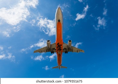 HOBART, TASMANIA/AUSTRALIA, MARCH 8TH: Image of a Jetstar Airlines Australia passenger airliner landing at Hobart Airport on 8th March, 2018 in Hobart