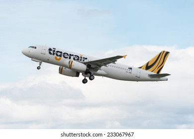 HOBART, TASMANIA/AUSTRALIA, OCTOBER 18TH: Image of a TigerAir passenger airliner taking off at Hobart Airport on 18th October, 2014 in Hobart