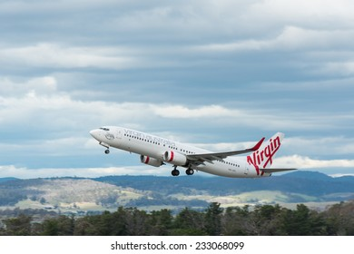 HOBART, TASMANIA/AUSTRALIA, OCTOBER 18TH: Image of a Virgin Australia passenger airliner taking off at Hobart Airport on 18th October, 2014 in Hobart