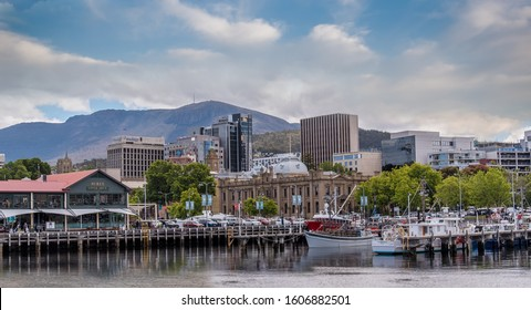 Hobart,TAS/Australia- December 13 2019: Nestled amongst the foothills of  Mt Wellington, City of Hobart combines heritage charm with a modern lifestyle in a setting of exceptional beauty.