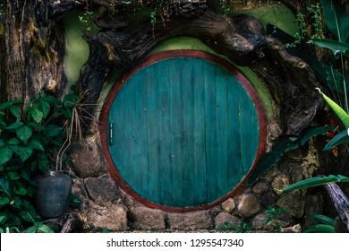 Hobbit hole door. wood blue wood door