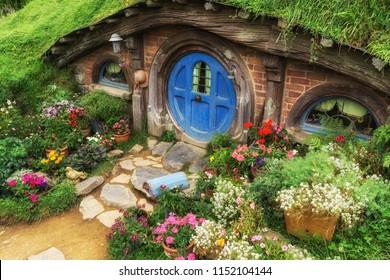 hobbit holes and hobbit garden in hobbiton movie set, new zealand. Taken February 9th 2016. Matamata, New Zealand