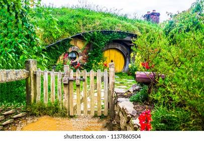 Hobbit village garden in Shire, New Zealand
