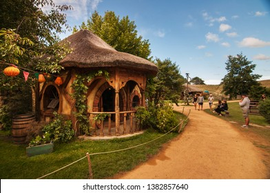 HOBBITON MOVIE SET, MATAMATA, NEW ZEALAND - 07 FEB 2018 - The green dragon pub in movie set from Lord of the rings, Hobbit movies