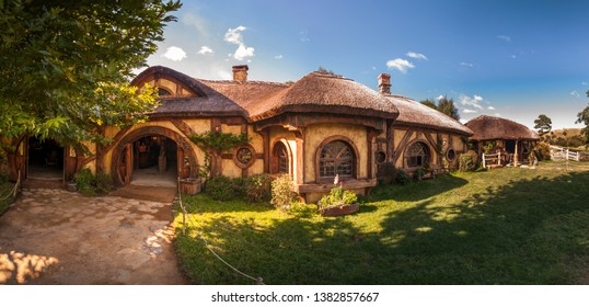 HOBBITON MOVIE SET, MATAMATA, NEW ZEALAND - 07 FEB 2018 - The green dragon pub in movie set from Lord of the rings, Hobbit movies