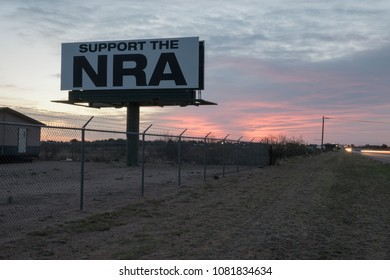 Hobbs, New Mexico, USA - April 12, 2018:  NRA (National Rifle Association) highway sign at the entrance to Hobbs, New Mexico