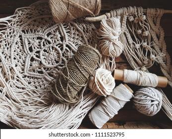 Hobby, handwork. Macrame weave