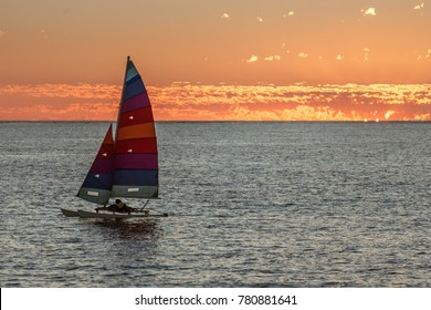 Hobie cat at sunset in the lagoon