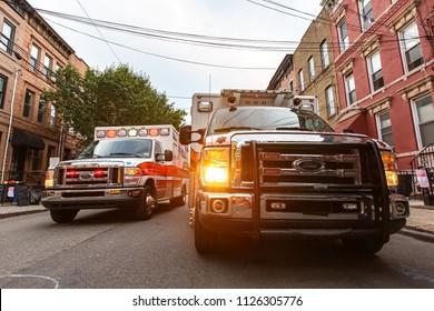 Hoboken, New Jersey / USA - 06 26 2018: ambulance car stay on street in city
