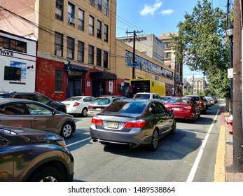 Hoboken, NJ - August 8 2019: Heavy traffic queued on Jackson Street during the evening rush hour