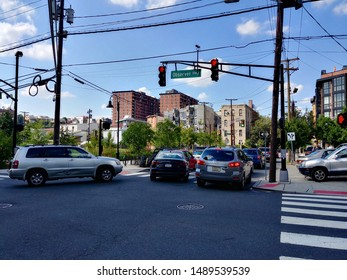 Hoboken, NJ - August 8 2019: Heavy traffic congestion at the intersection of Jackson Street and Observer Highway during rush hour