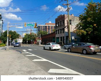 Hoboken, NJ - August 8 2019: The intersection of Newark Street and Jackson Street