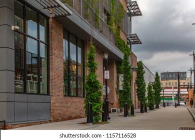Hoboken, NJ / USA: 8 10 2018: Residential neighbourhood, city street and luxury buildings.