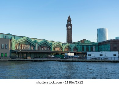 Hoboken, NJ, USA  - April 26,2018 : The Lackawanna Clock tower rises into the sky above the Hoboken train station in Hoboken, NJ, USA on April 26,2018.