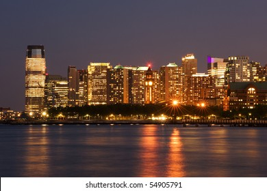 Hoboken terminal and Jersey city skyline, New Jersey
