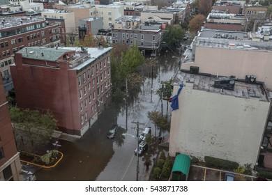 Hoboken, USA - November Circa 2012: New York after Sandy the hurricane. Flooded street of Hoboken.