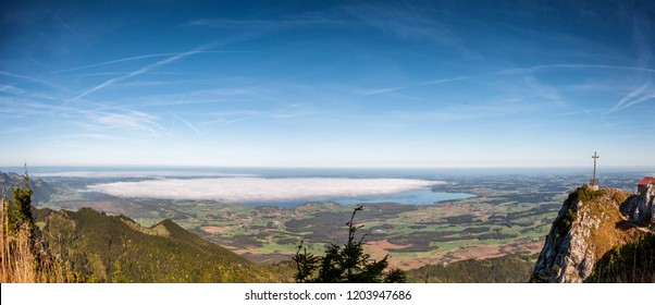 Hochfelln mountain station with Chiemsee in Bavaria, Germany in Bavaria, Germany