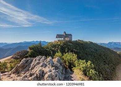 Hochfelln mountain station Tabor church in Bavaria, Germany