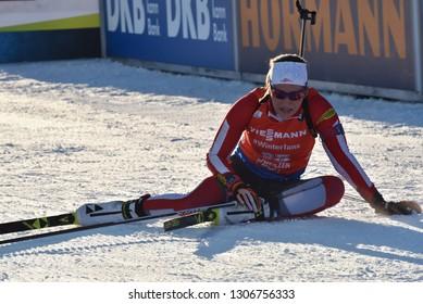 Hochfilzen, Austria - December 13, 2018: Dunja Zdouc of Austria competes in the sprint at the BMW IBU World Cup Biathlon 2