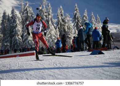 Hochfilzen, Austria - December 14, 2018: Andrejs Rastorgujevs of Latvia competes in the sprint at the BMW IBU World Cup Biathlon 2