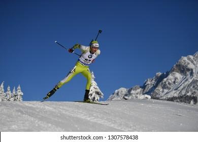 Hochfilzen, Austria - December 14, 2018: George Buta of Romania competes in the sprint at the BMW IBU World Cup Biathlon 2