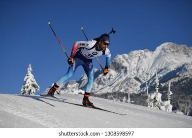 Hochfilzen, Austria - December 14, 2018: Mario Dolder of Switzerland competes in the sprint at the BMW IBU World Cup Biathlon 2