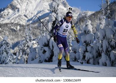 Hochfilzen, Austria - December 14, 2018: Dmytro Pidruchnyi of Ukraine competes in the sprint at the BMW IBU World Cup Biathlon 2