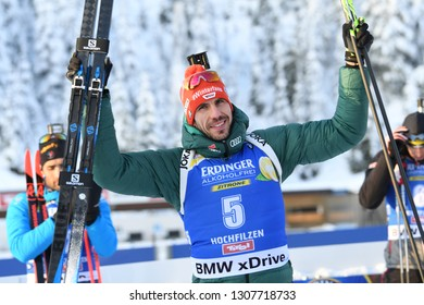 Hochfilzen, Austria - December 15, 2018: Arnd Peiffer of Germany competes in the pursuit at the BMW IBU World Cup Biathlon 2