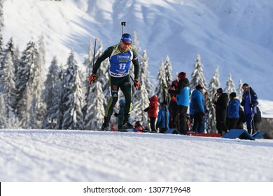 Hochfilzen, Austria - December 15, 2018: Erik Lesser of Germany competes in the pursuit at the BMW IBU World Cup Biathlon 2
