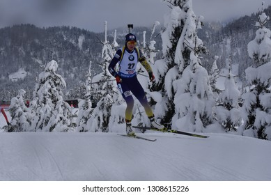 Hochfilzen, Austria - December 15, 2018: Olena Pidhrushna of Ukraine competes in the pursuit at the BMW IBU World Cup Biathlon 2
