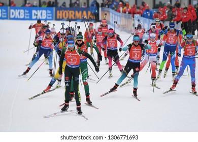Hochfilzen, Austria - December 16, 2018: Athletes compete in the relay at the BMW IBU World Cup Biathlon 2