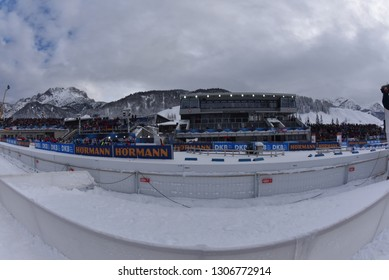 Hochfilzen, Austria - December 16, 2018: Biathlon stadium and main tribune  at the BMW IBU World Cup Biathlon 2