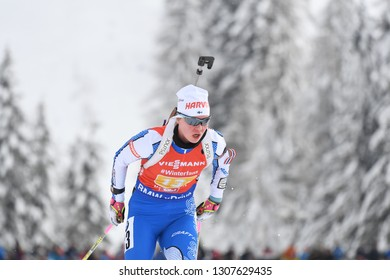 Hochfilzen, Austria - December 16, 2018: Suvi Minkkinen of Finland competes in the relay at the BMW IBU World Cup Biathlon 2