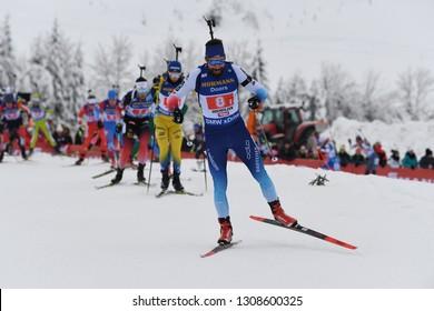 Hochfilzen, Austria - December 16, 2018: Benjamin Weger of Switzerland competes in the relay at the BMW IBU World Cup Biathlon 2