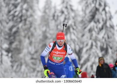 Hochfilzen, Austria - December 16, 2018: Anastasiya Kuzmina  of Slovakia competes in the relay at the BMW IBU World Cup Biathlon 2