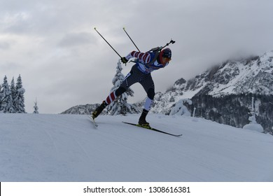 Hochfilzen, Austria - December 16, 2018: Travis Cooper of USA competes in the relay at the BMW IBU World Cup Biathlon 2