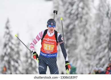 Hochfilzen, Austria - December 65, 2018: Clare Egan of USA competes in the relay at the BMW IBU World Cup Biathlon 2