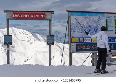 Hochfuegen, Zillertal, Tirol / Austria - January 08, 2018: avalanche rescue technology on the top of the mountain, start point for the ski freeriders, security check point