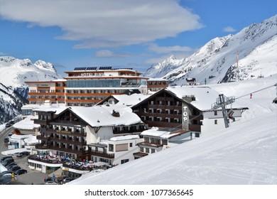 HOCHGURGL, AUSTRIA. APRIL 04, 2018.  The mountain village of Hochgurgl, Austria. The snow shurest village of the austrian alps.