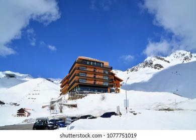 HOCHGURGL VILLAGE, AUSTRIA.  APRIL 05,2018.  Village of Hochgurgl, Austria. One of the most famous ski area in austria.