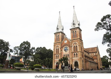 HOCHIMINH CITY, VIETNAM - February 24, 2017: Saigon Notre-Dame Basilica in Ho Chi Minh City, Vietnam. It was constructed between 1863 and 1880.