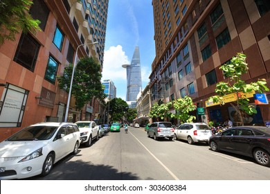 Hochiminh City, Vietnam - June 7, 2015: a street in downtown HCM overlooking the Bitexco tower, at an altitude Financial Tower stands 262.5 meters of it is the second tallest building in the world 124
