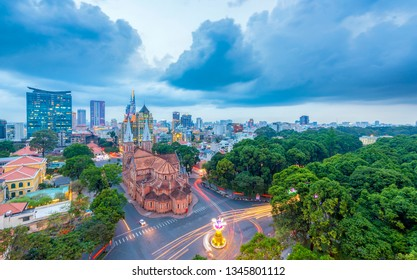 Hochiminh city , Vietnam - May 17, 2016 : Notre Dame Cathedral ( Duc Ba Church) in Saigon , Vietnam