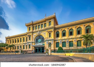 HOCHIMINH CITY, VIETNAM - MAY 17, 2020:Saigon Central Post Office on blue sky in Ho Chi Minh, Vietnam. Ho Chi Minh is a popular tourist destination of Asia.