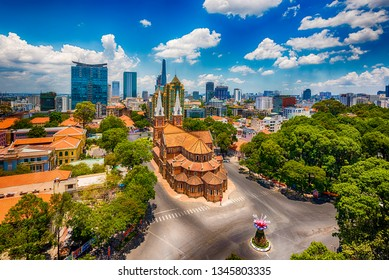 Hochiminh city , Vietnam - May 3 2016 : Notre Dame Cathedral in Saigon ,Vietnam