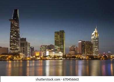 HO-CHI-MINH-CITY,VIETNAM, -JUNE 19, 2017:Skyline Saigon, Center with Bitexco Tower, District 1, Ho Chi Minh City, Vietnam, Asia