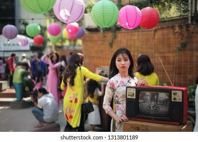 HoChiMinh/Vietnam-Feb 15 2019: Tet holiday in Vietnam